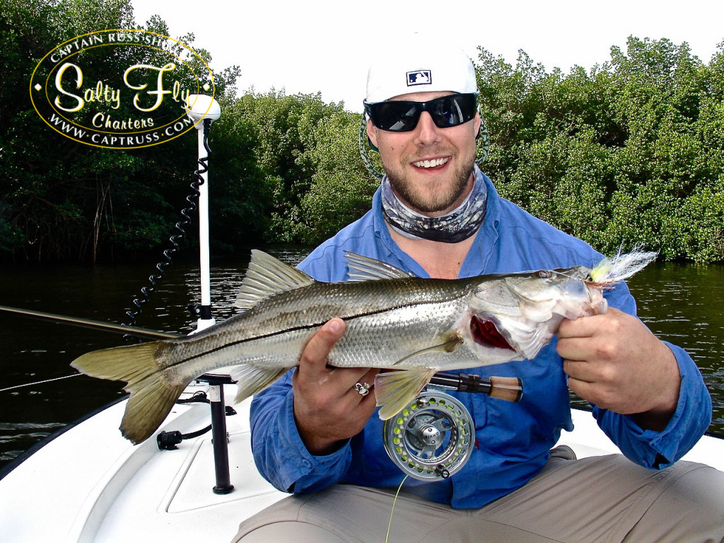 Fly fishing snook with Salty Fly Charters.