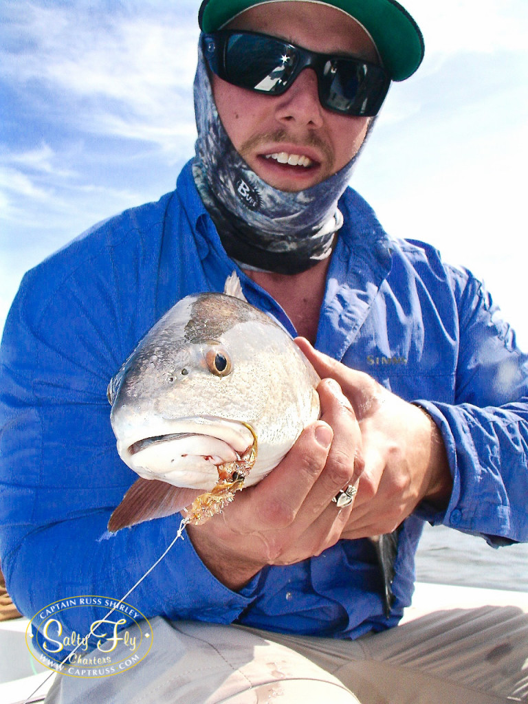 Redfish on fly with Salty Fly Charters.